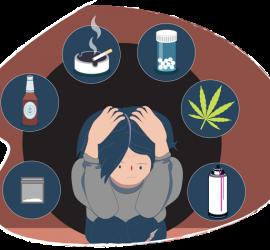Joven rodeado de drogas